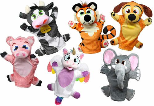 Animal hand puppet set