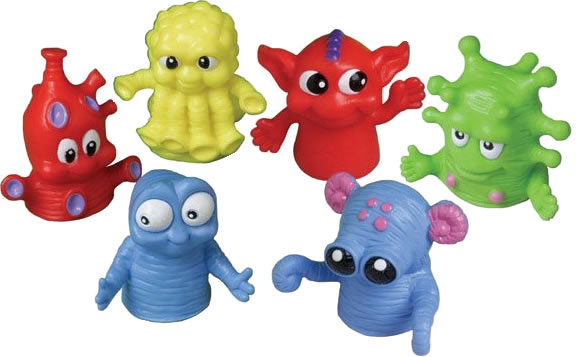 Dozen Assorted Color Monster Finger Puppets