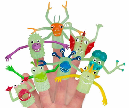 Glow in the dark monster finger puppets