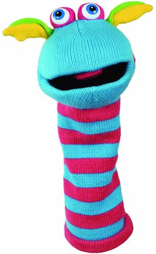 Knitted monster hand puppet